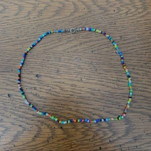 Multicolor Beaded Necklace with silver clasp